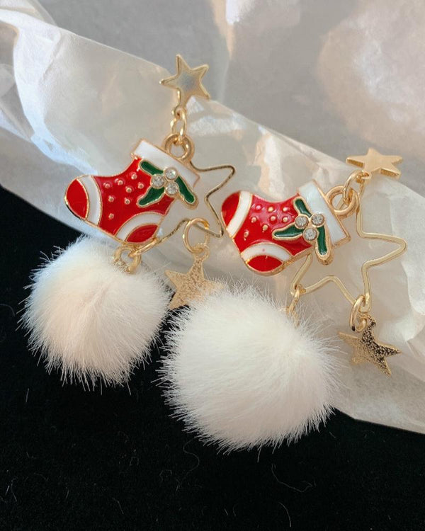 Christmas Star Socks Pattern Pom Pom Drop Earrings