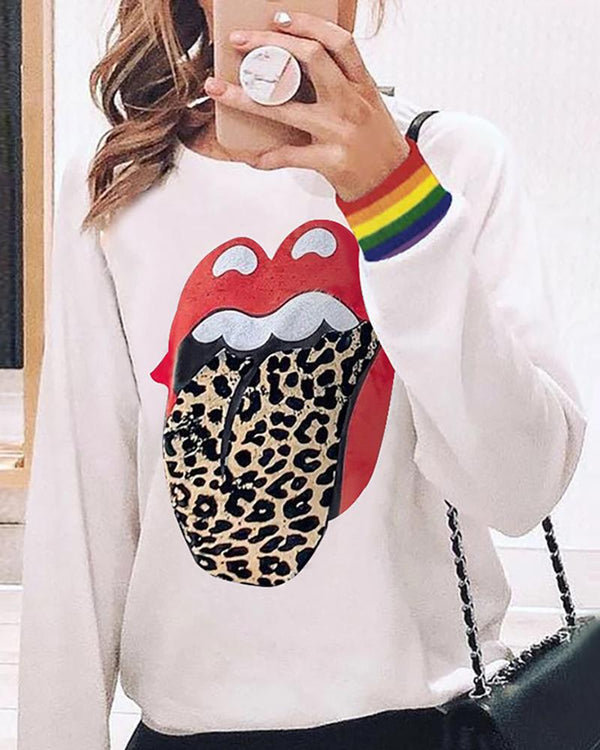 Lips Leopard Long Sleeve Casual Sweatshirt