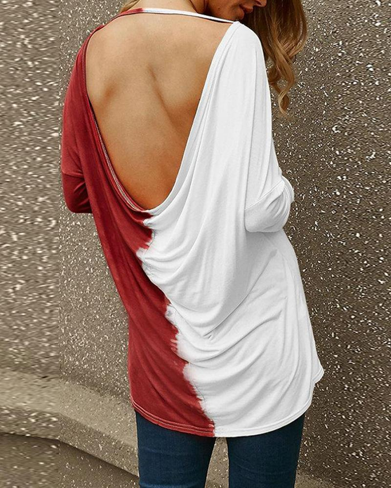 Boat Neck Backess Contrast Top