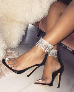 Transparent Shiny Tassel Detailed Thin Pump