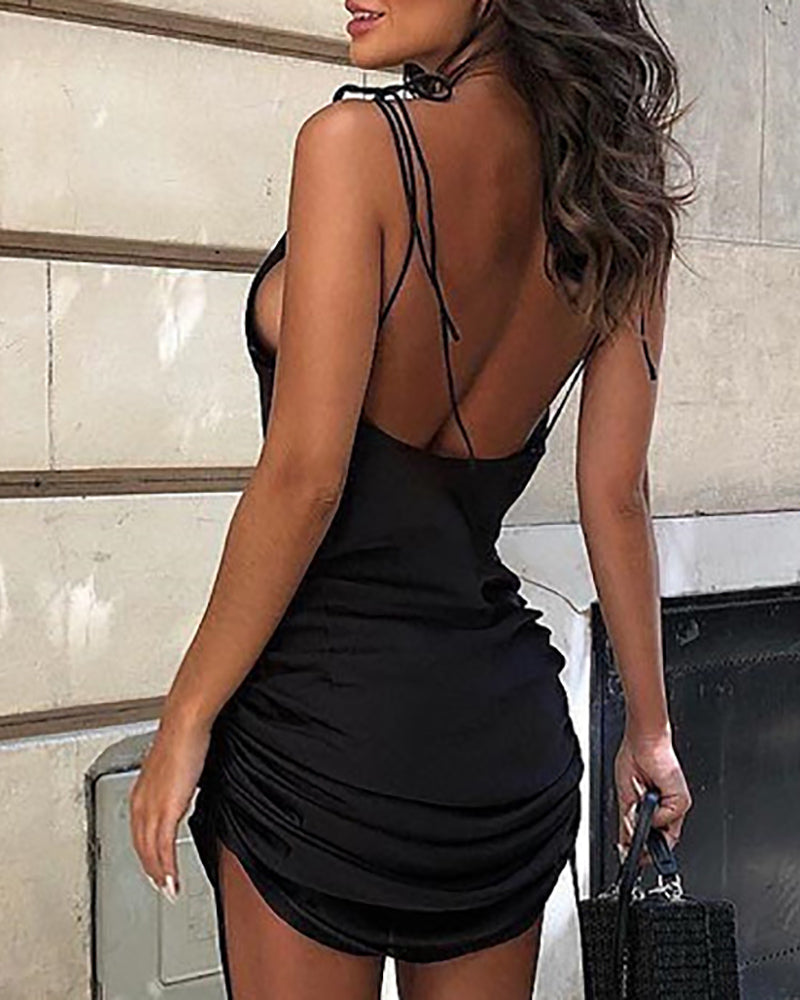 Satin Spaghetti Strap Ruched Backless Dress