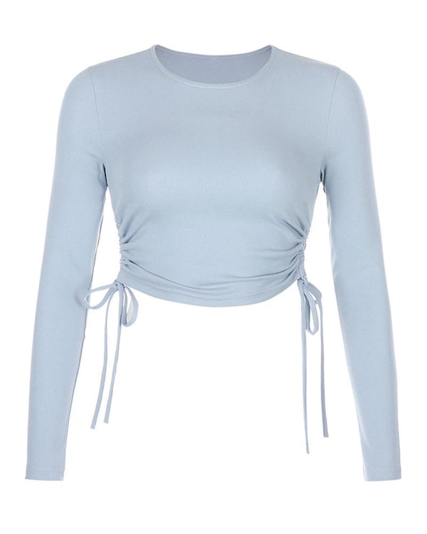 Drawstring Ruched Solid Crop Top