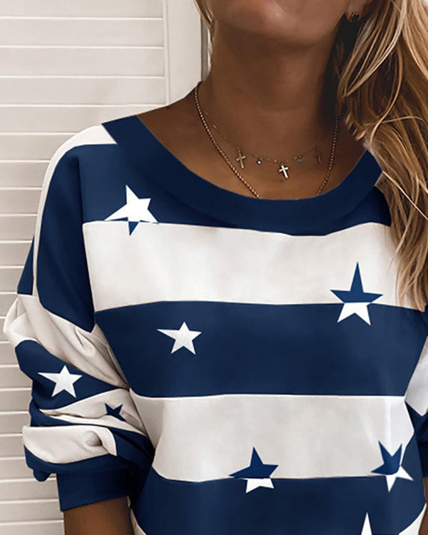 Star Print Striped Long Sleeve Sweatshirt