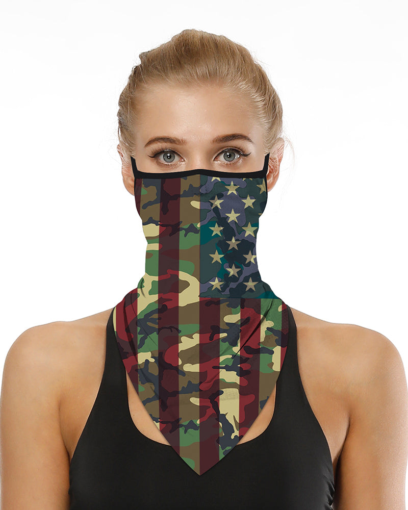Camouflage Flag Print Breathable Ear Loop Face Cover Windproof Motorcycling Dust Outdoors Bandana