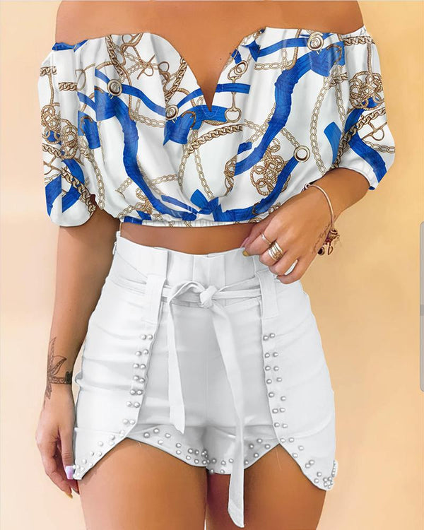 Off Shoulder Chain Print Top & Beaded Shorts Set