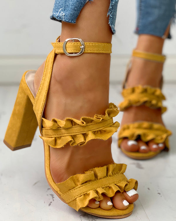 Frilled Solid Color Chunky Heeled Sandals