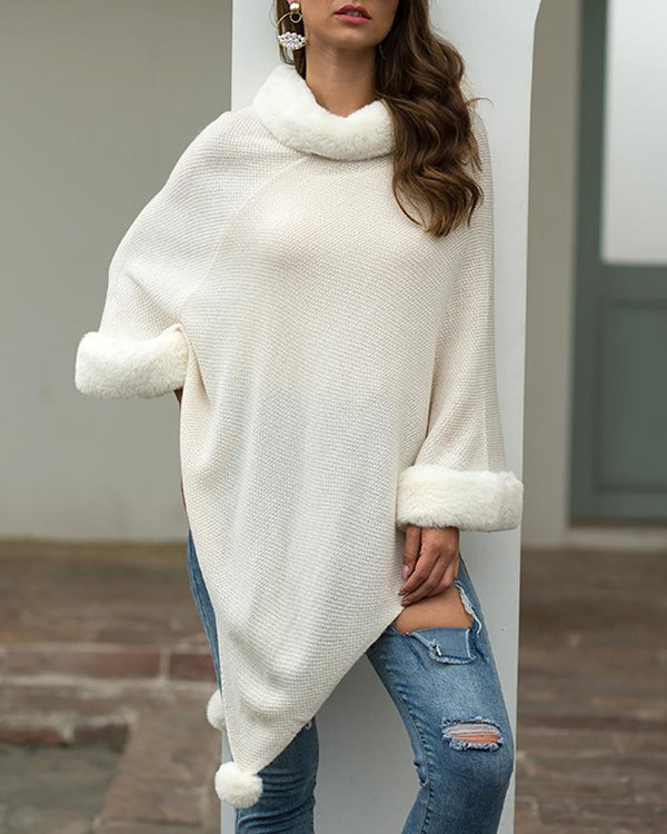 Mock Neck Pom Pom Cape Sweater