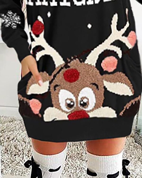 Christmas Moose Letter Print Dress