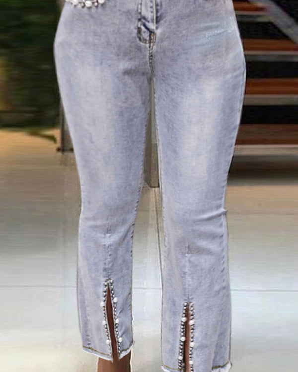 Beaded Decor High Waist Slit Bootcut Jeans