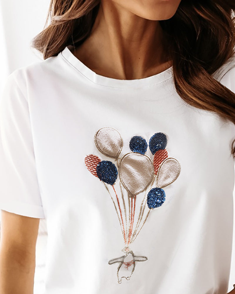 Sequins Embroidery Balloon Pattern Casual T-shirt