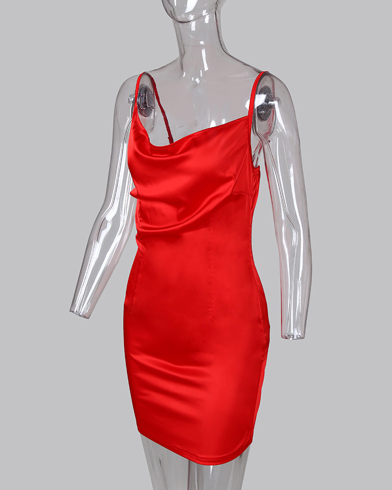 Solid Spaghetti Strap Bodycon Ruched Dress