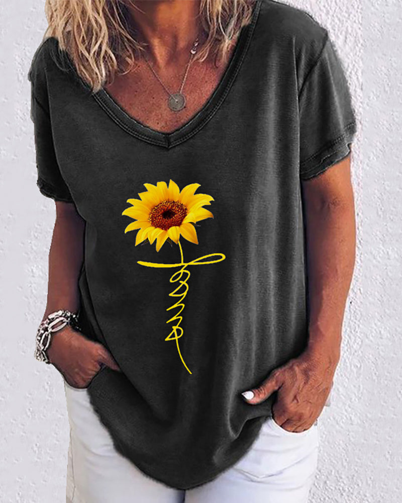 Sunflower Print Letter Pattern Casual T-shirt