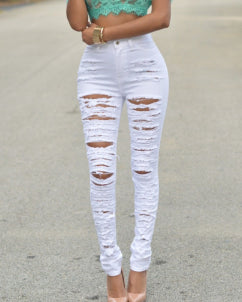 Ladder Cutout Ripped High Waist Denim Pants