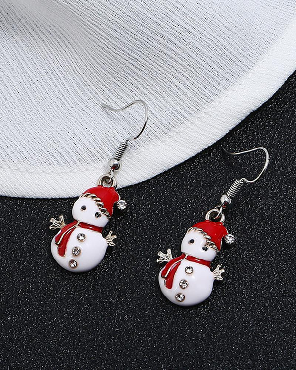 Christmas Snowman Pattern Studded Drop Earrings