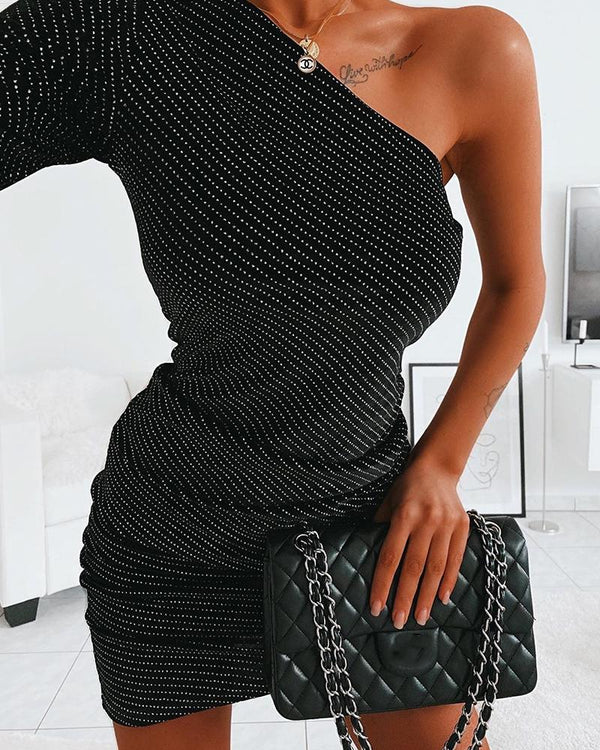 Embellished One Shoulder Mini Dress