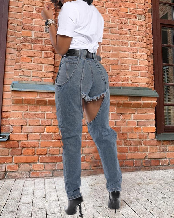 Denim Cut Out Casual Pants