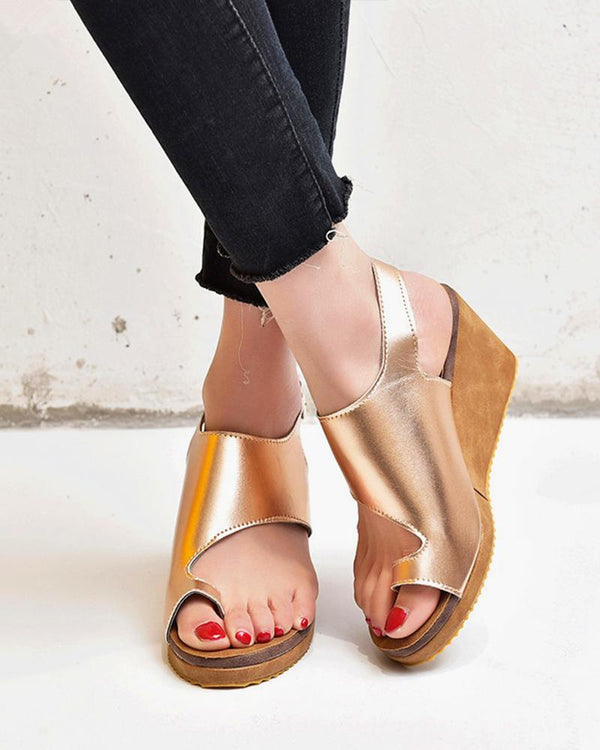 Cut Out Wedge Sandals