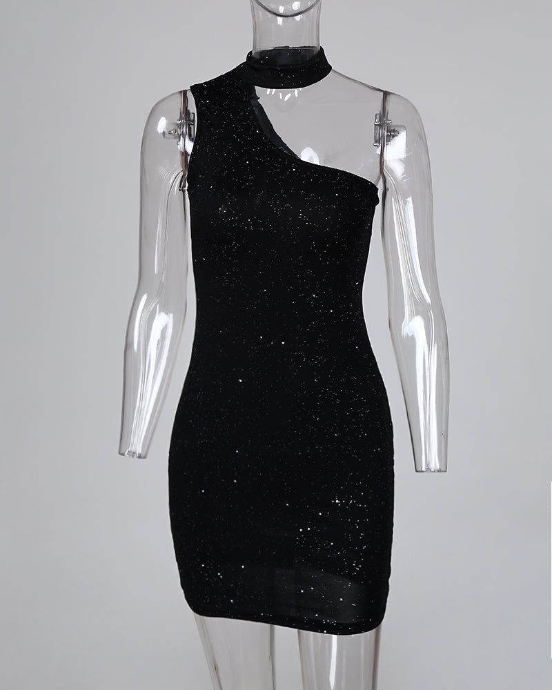 Glitter Choker Sleeveless Cut Out Bodycon Dress