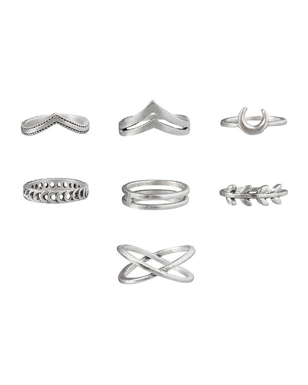 7PCS Leaf Design Skinny Rings Set