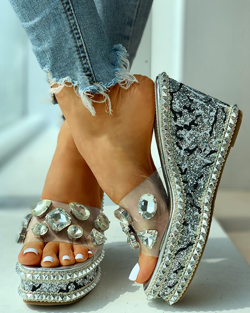 Open Toe Studded Rivet Heeled Sandals