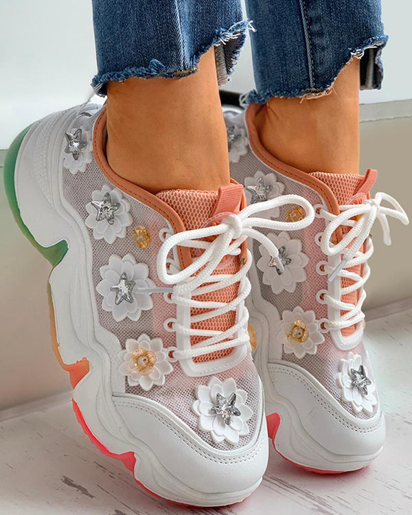 Floral Pattern Rhinestone Mesh Lace-up Sneaker