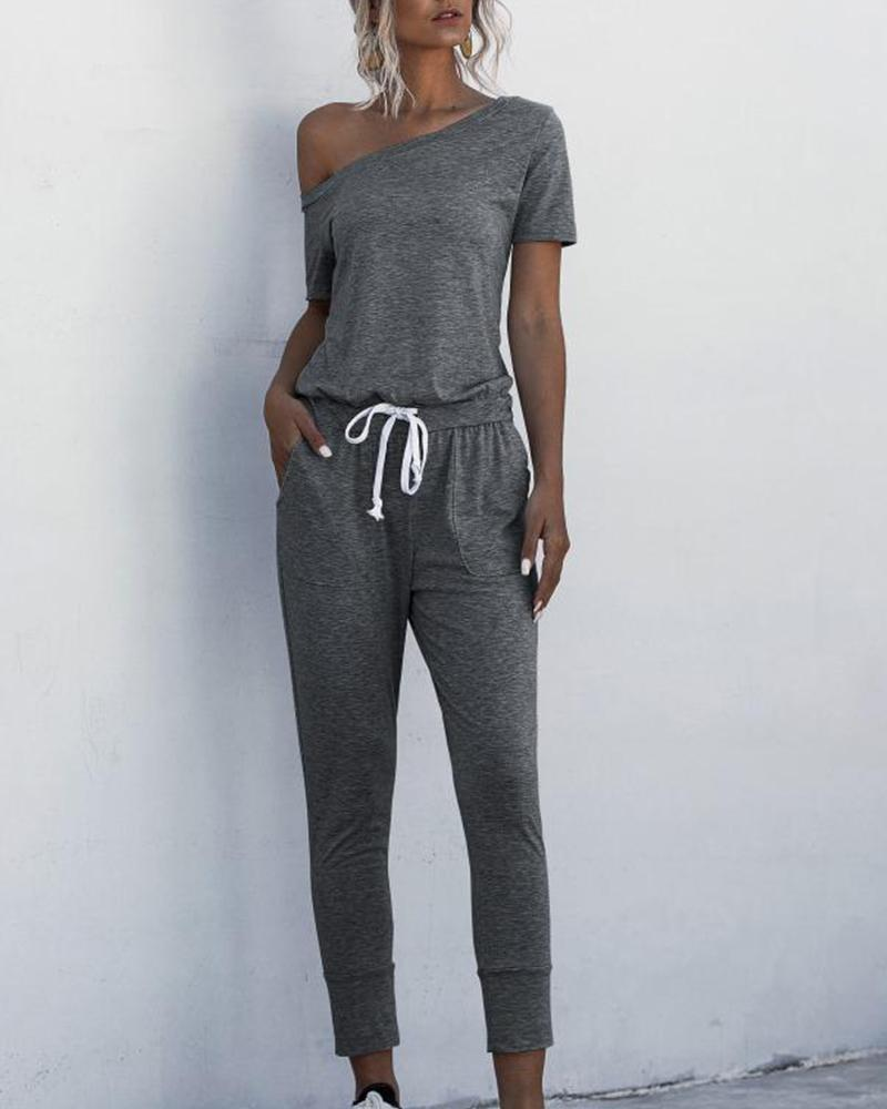 One Shoulder Contrast Drawstring Jumpsuit