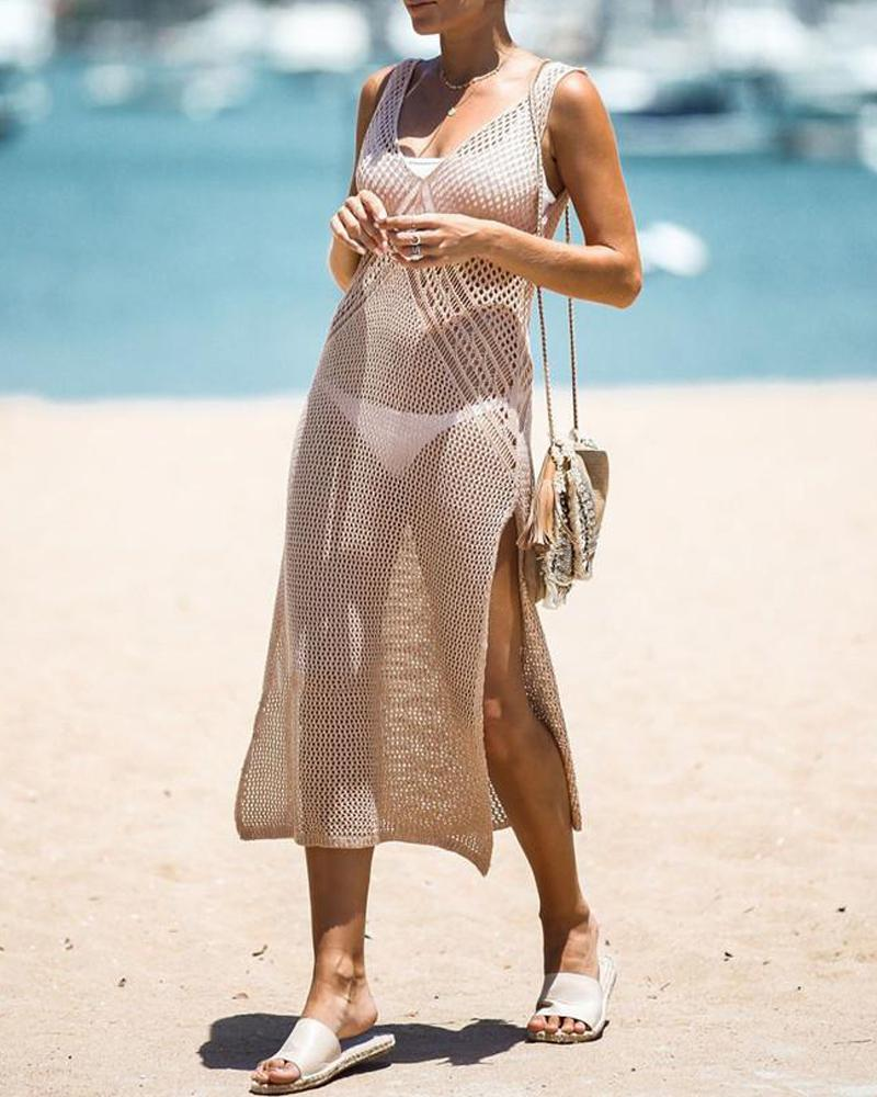 Crochet Side Slit Cover Up Dress