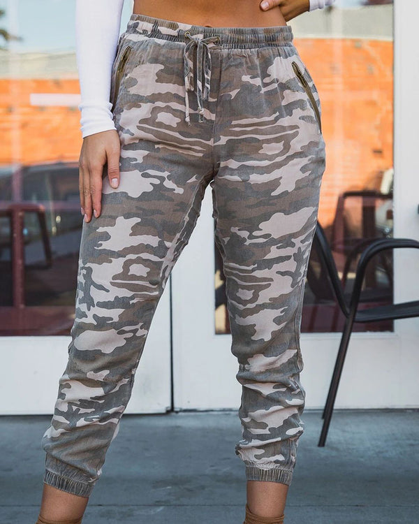 Camouflage Elastic Lace-up Pants