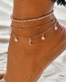 Fashion Tiered Moon & Stars Anklet