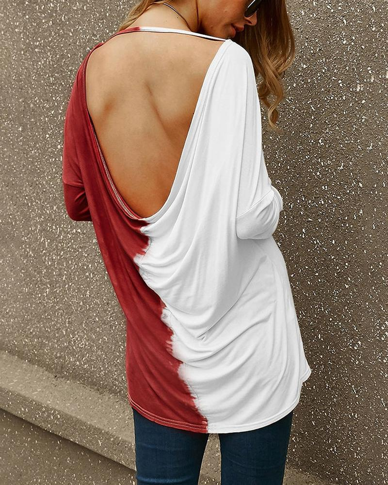 Colorblock Backless Long Sleeve Casual T-Shirt