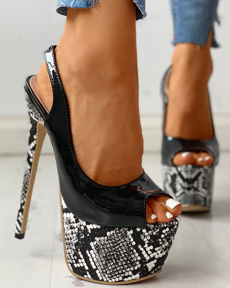 Pu Snakeskin Platform Thin Heeled Sandals