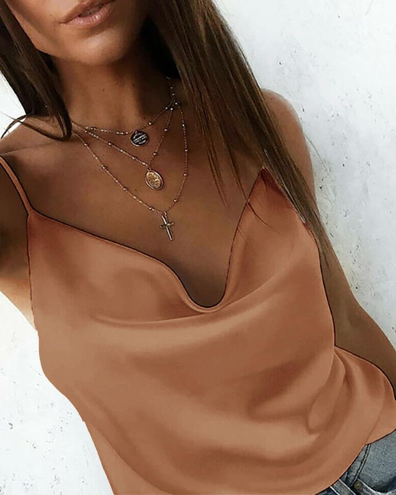 Solid Satin Cowl Neck Cami Top