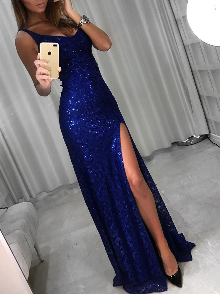 Sleeveless Thigh Slit Maxi Gown Dress