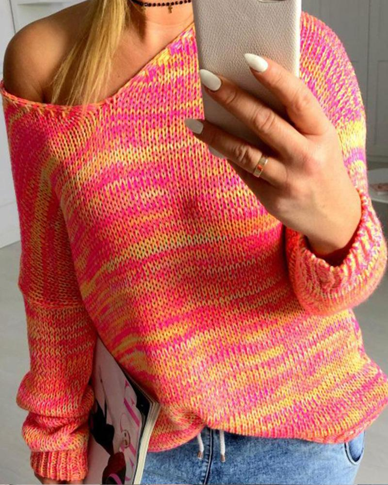 Long Sleeve  Print Casual Sweater