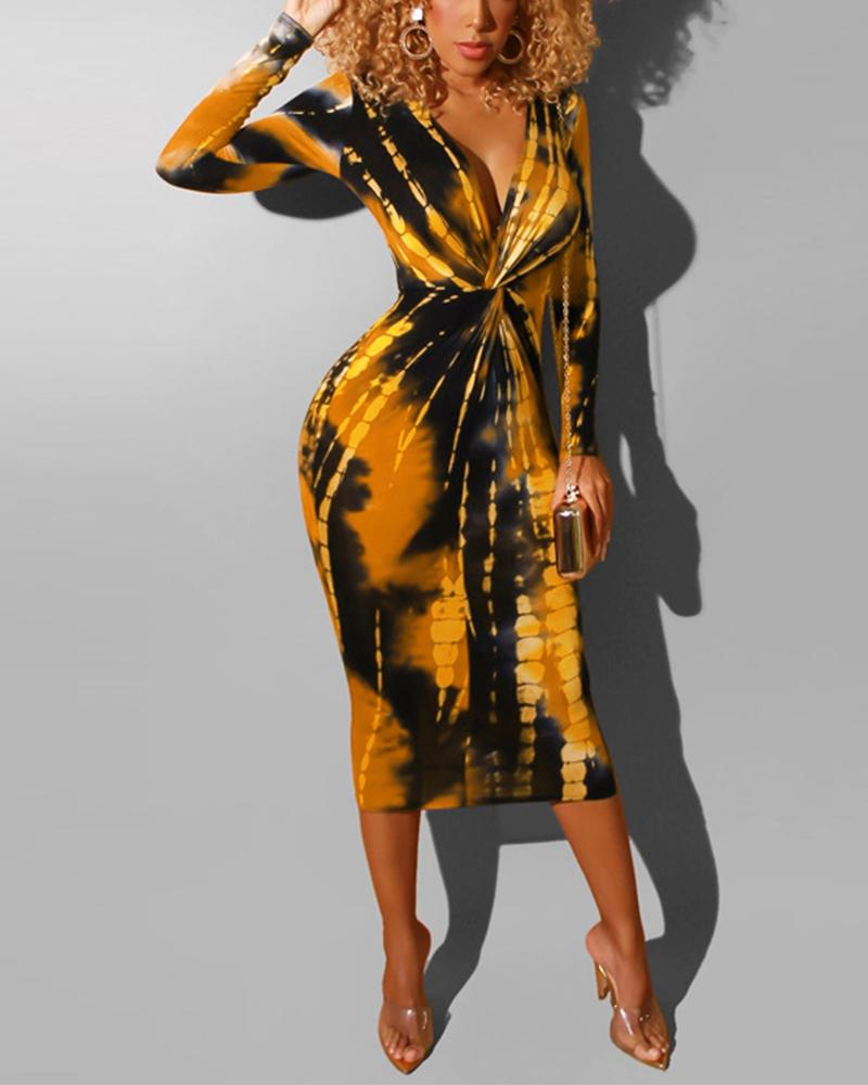 V Neck Front Twist Midi Dress