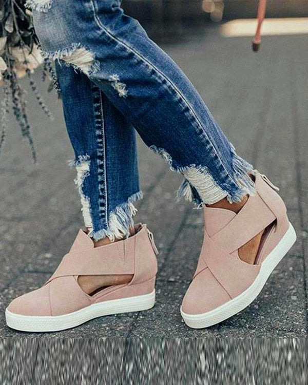 Suede Cut Out Flat Sneakers