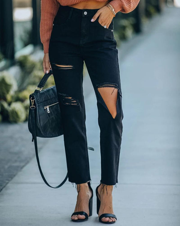 Cutout Ripped High Waist Jeans