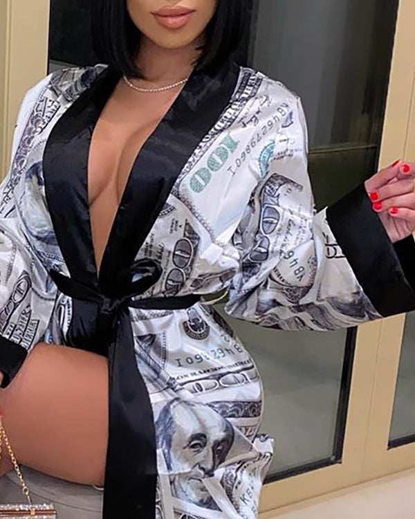 Graphic Print Colorblock Long Sleeve Robe