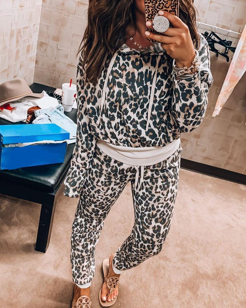 Leopard Print Hooded Top & Pants Set