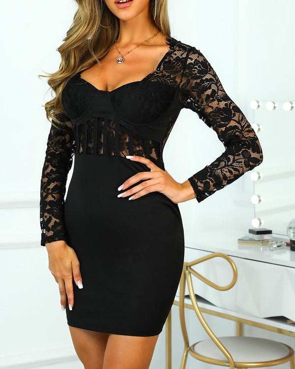 Sheer Lace Bodice Bodycon Dress