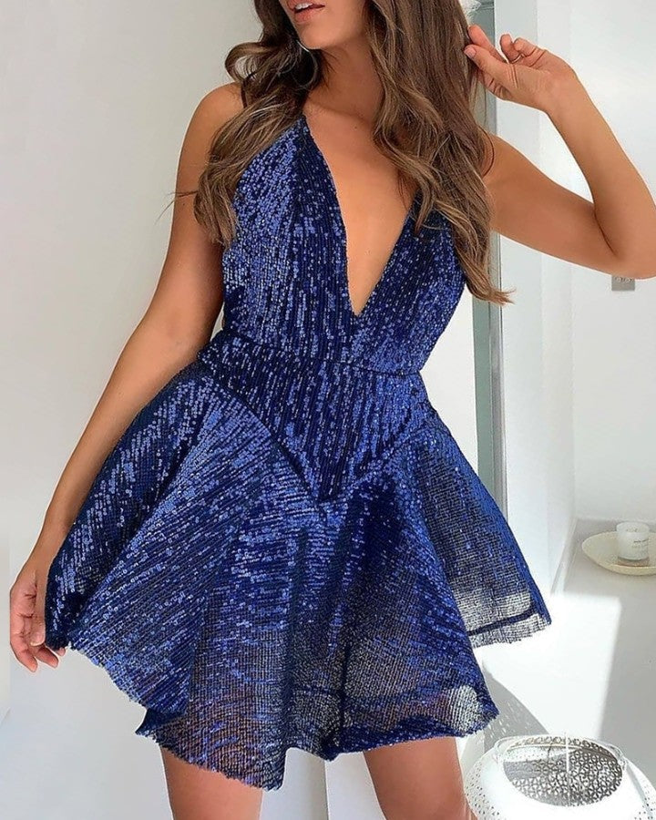 Glitter Plunge Sequins Ruffles Dress