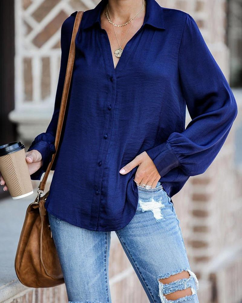 Oversized Button-Up Long Sleeve Shirt