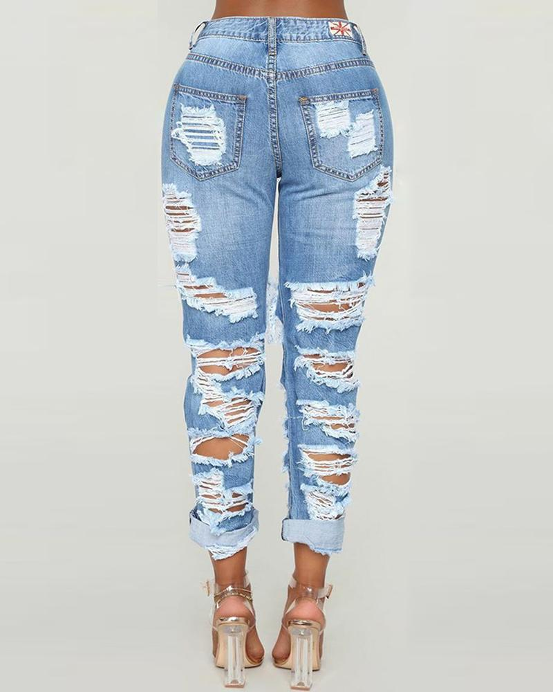 Solid Ripped Cutout Pocket Denim Jeans