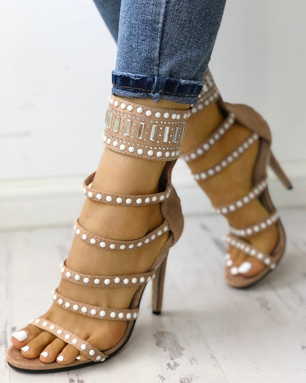 Beading Ladder Stiletto Sandals