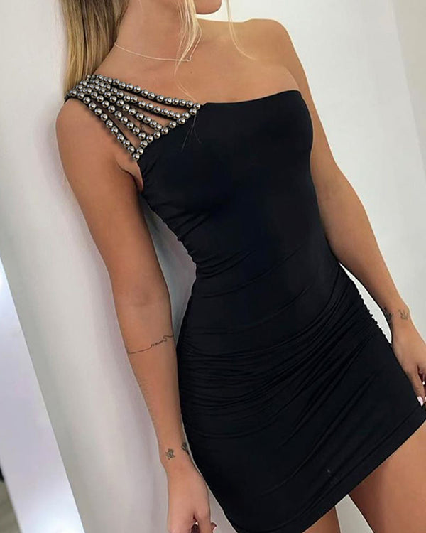 One Shoulder Beaded Ruched Bodycon Dress