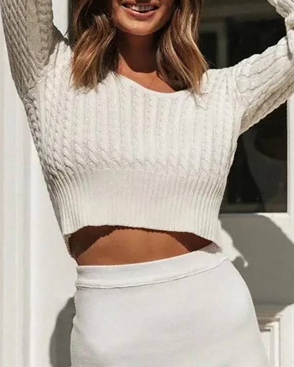 Braided Long Sleeve Casual Sweater