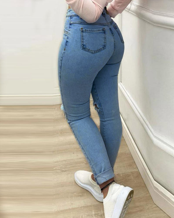 Button Pocket Design Cutout Skinny Jeans