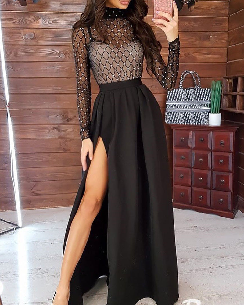 Hot Stamping Mock Neck Plaid Sheer Mesh Insert High Slit Ruched Dress