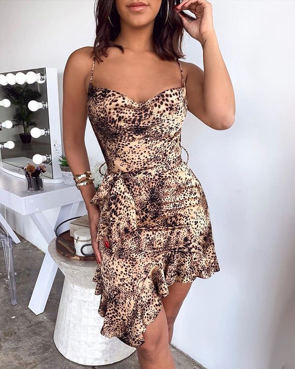 Spaghetti Strap Leopard Ruffles Bodycon Dress
