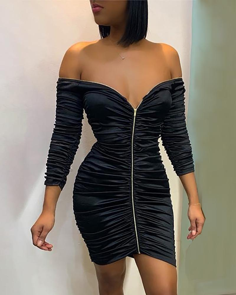 Solid Zipped Bodycon Ruched Dress